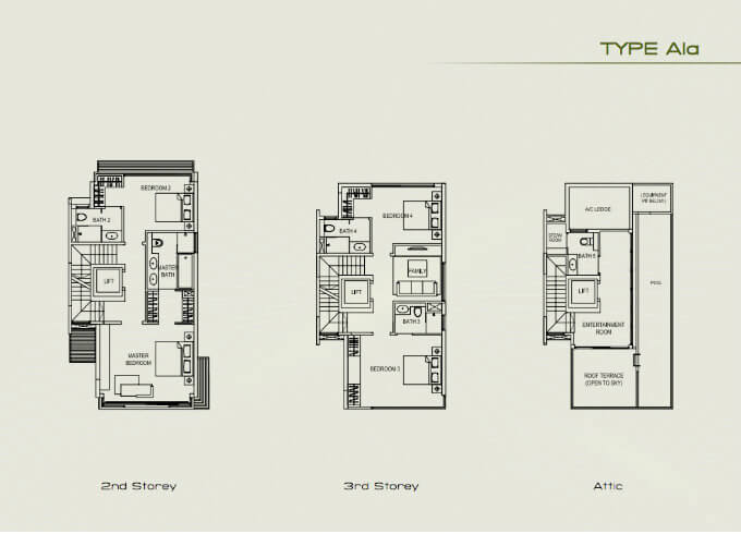 Palms @ Sixth Avenue - Floor Plan A1a 2nd 3rd Attic