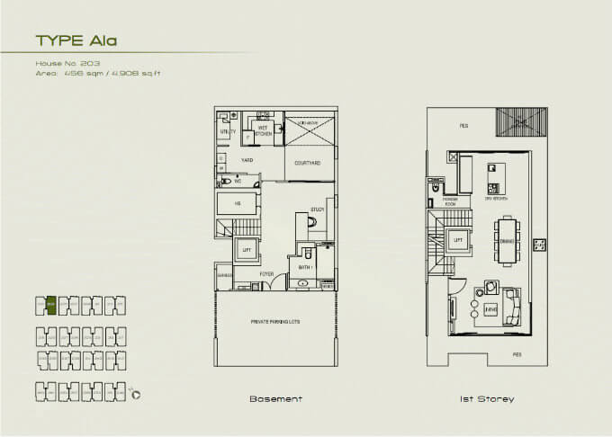 Palms @ Sixth Avenue - Floor Plan A1a Basement & 1st Storey