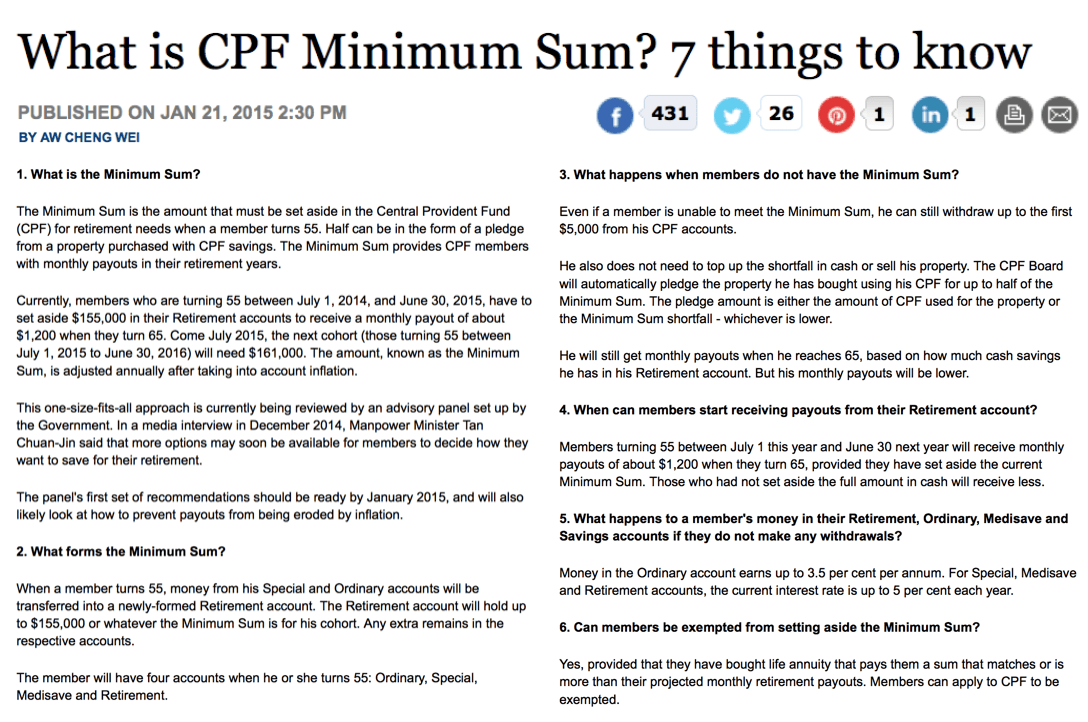 CPF Minimum Sum Rises In July 2015