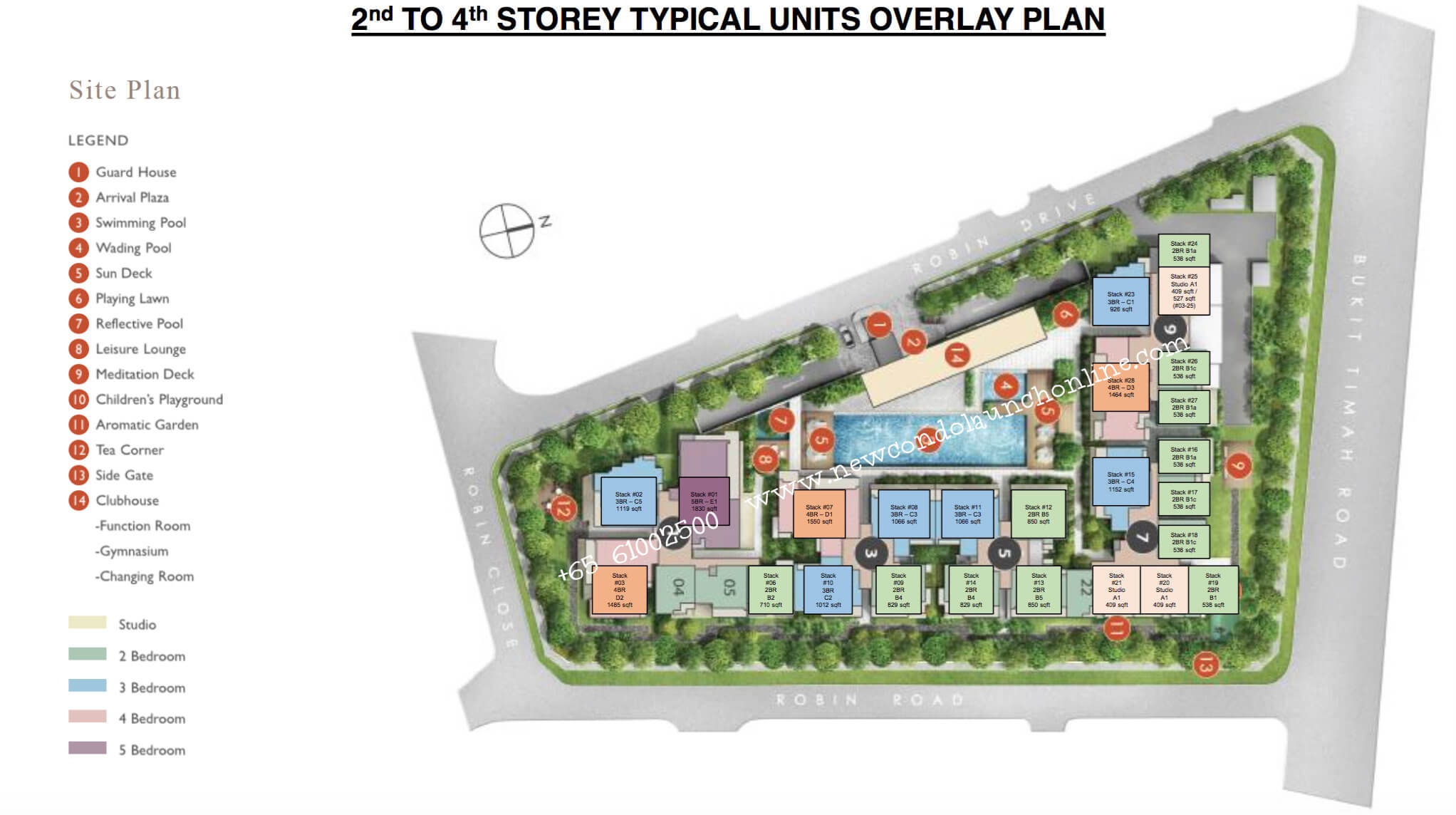 Condo Singapore - Robin Residences - Site Plan 2nd To 4th Level