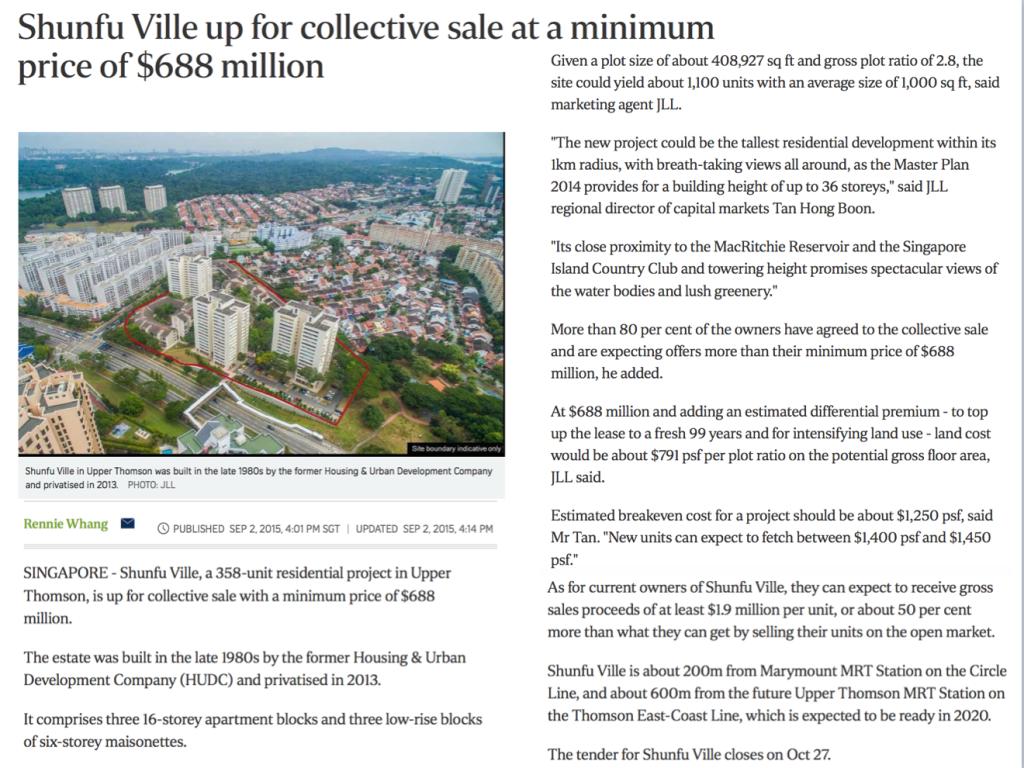Shunfu Ville Collective Sale Minimum $688 million