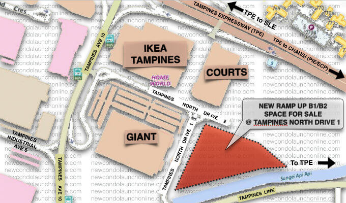 Tampines North Drive 1 B1 / B2 Industrial Location Map