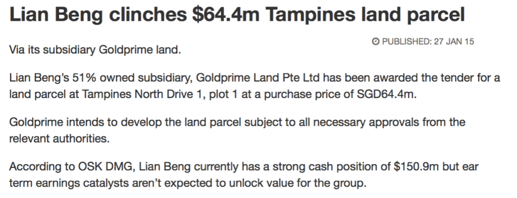Tampines North Drive 1 Land Parcel