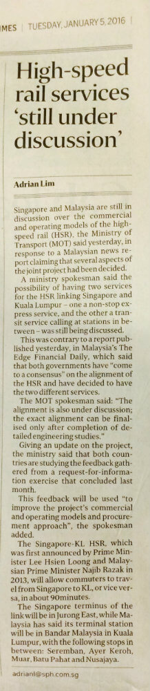 High Speed Rail Services In Discussion