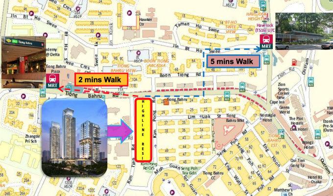 Highline Residences - Condo Singapore - Walk To MRT Map