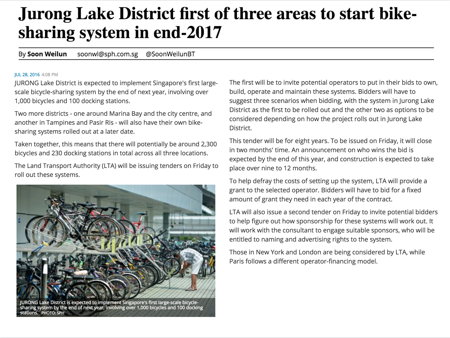 First Ever Bike Sharing System In Jurong Lake District