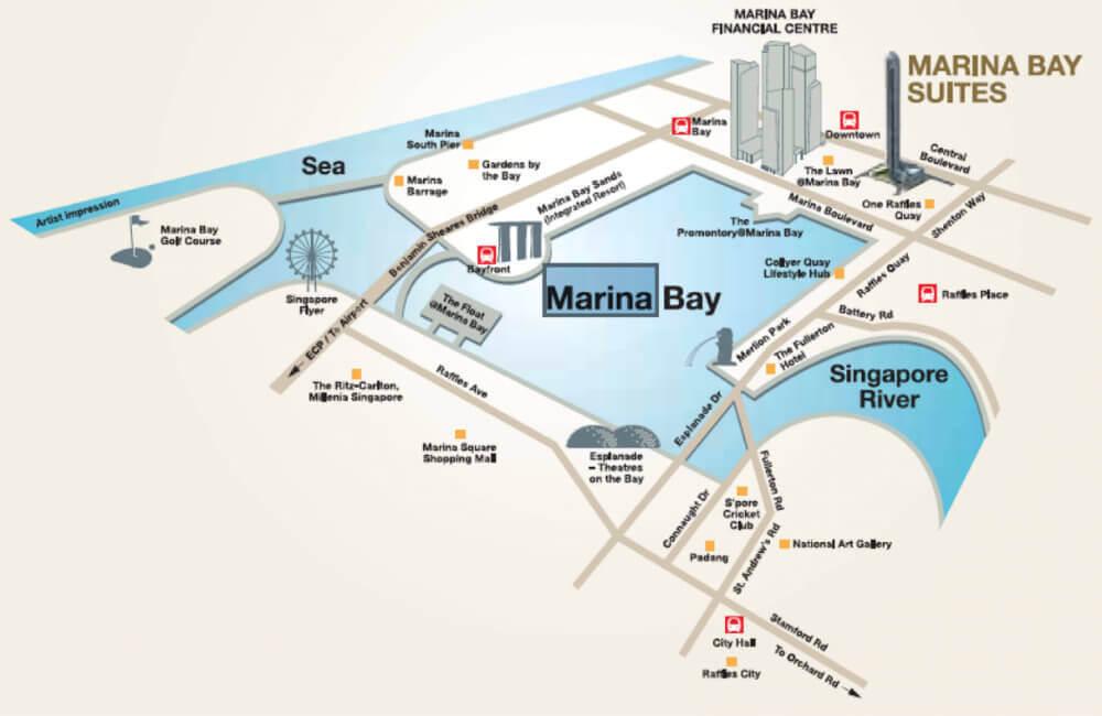 Marina Bay Suites New Launch Condo Location Map
