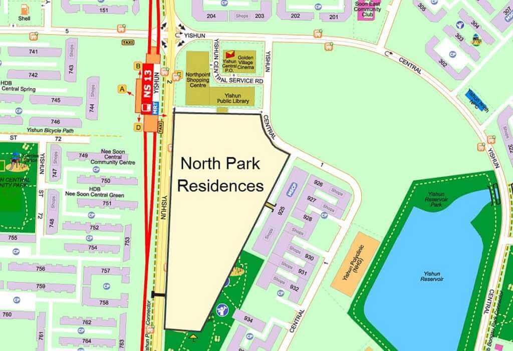 North Park Residences Location Map Singapore