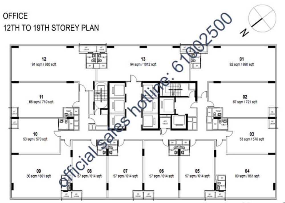 Centrium Square New Commercial Launch Floor Plan 11 to 19 Storey