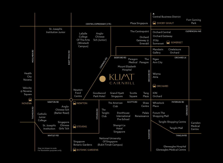 Klimt Cairnhill Luxury Condo Singapore Location Map