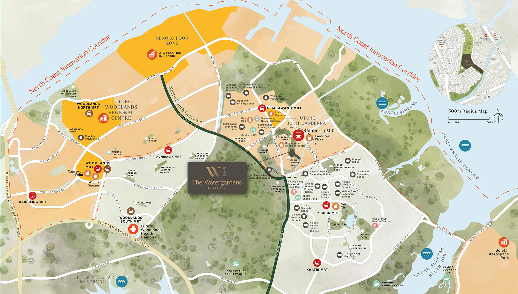 The Watergardens At Canberra Location Map Condo Singapore